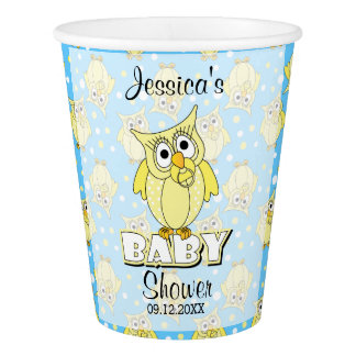 Yellow and Blue Polka Dot Owl Baby Shower Theme Paper Cup