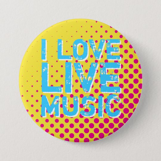 Yellow and Blue Retro Halftone I Love Music Button