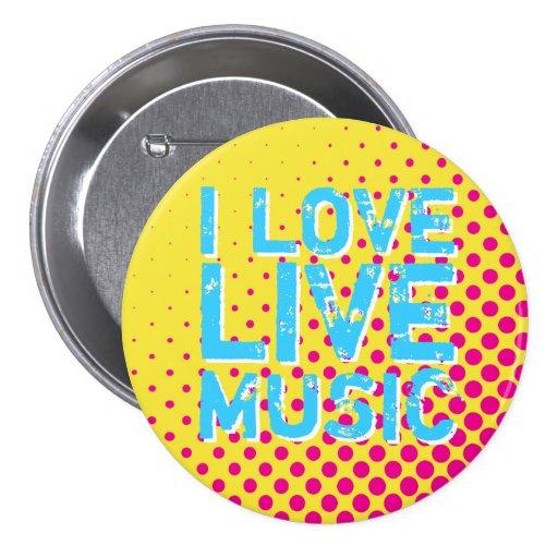 Yellow and Blue Retro Halftone I Love Music Button