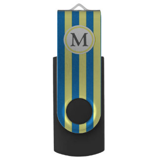 Yellow and Blue Stripes USB Flash Drive