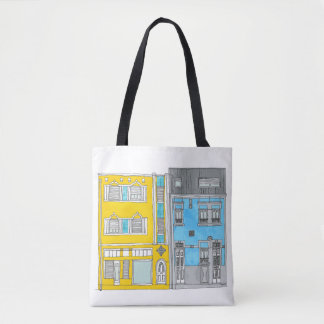 Yellow and blue tote bag