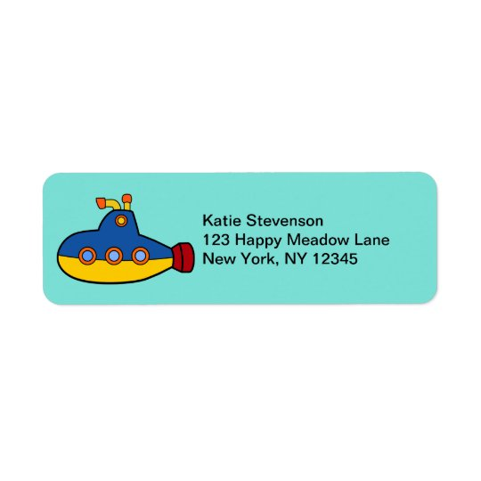 Yellow and Blue Toy Submarine Return Address Label