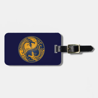 Yellow and Blue Yin Yang Dragons Luggage Tag
