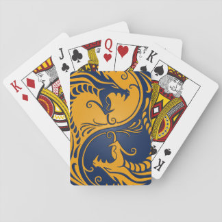 Yellow and Blue Yin Yang Dragons Playing Cards