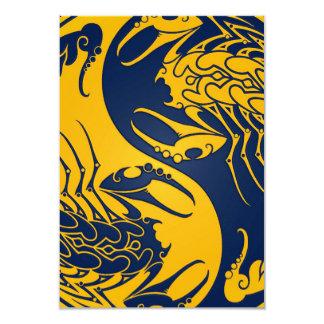 Yellow and Blue Yin Yang Scorpions 9 Cm X 13 Cm Invitation Card