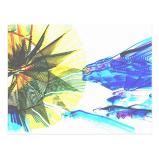 Yellow and Blue Zoomed Rides on White Abstract Postcard
