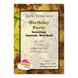 """Yellow and Brown Dying Macro Leaf 5"""" X 7"""" Invitation Card"""