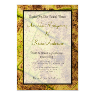 """Yellow and Brown Dying Macro Leaf Wedding 5"""" X 7"""" Invitation Card"""