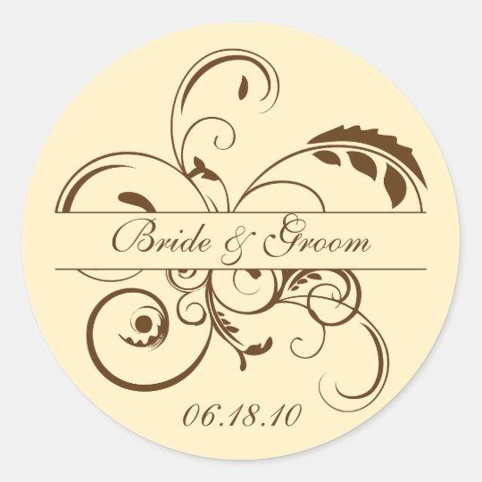 Yellow and Brown Flourish Monogram Sticker Label