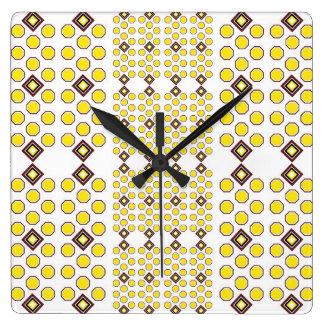Yellow and Brown Geoometric Wall Clock