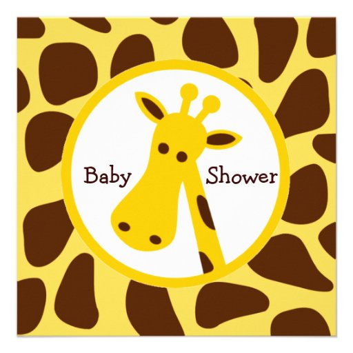 Yellow and Brown Giraffe Neutral Baby Shower Invitation