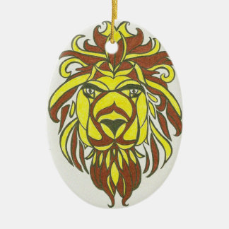Yellow and brown lion ceramic oval decoration