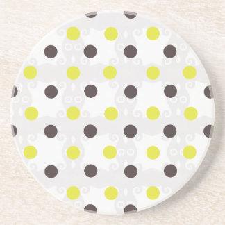 Yellow and Brown Polka Dot Coaster