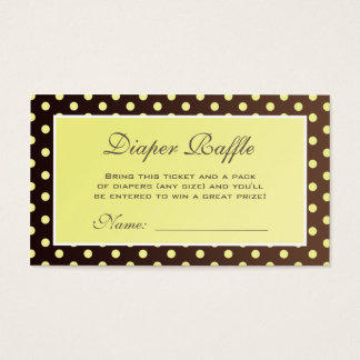 Yellow and Brown Polka Dot Diaper Raffle Ticket