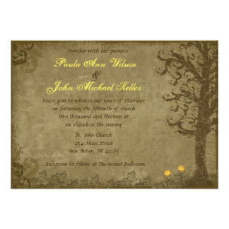 Yellow and Brown Vintage Swirl Tree Wedding Personalized Invite