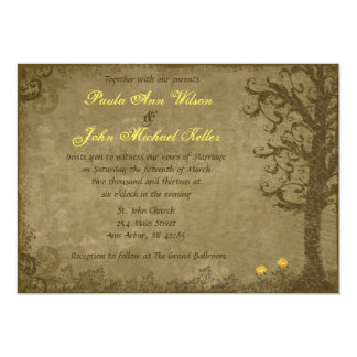 Yellow and Brown Vintage Swirl Tree Wedding 5x7 Paper Invitation Card