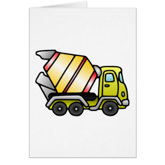 Yellow and Cement Mixer Greeting Cards
