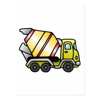 Yellow and Cement Mixer Postcard