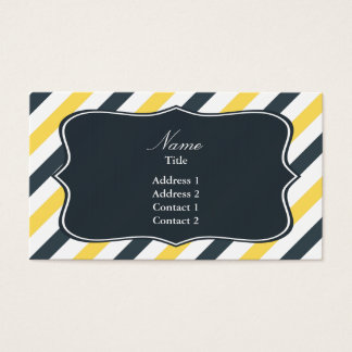 Yellow and Charcoal Grey Stripes Business Card