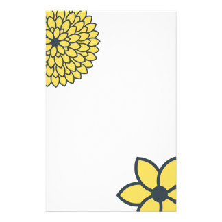 Yellow and Charcoal Modern Floral Personalised Stationery