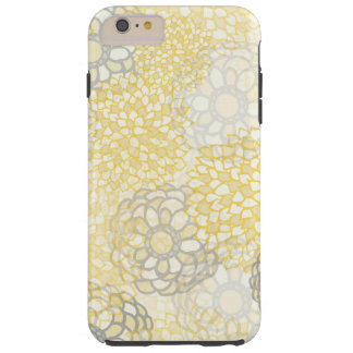Yellow and Clay Flower Burst Design Tough iPhone 6 Plus Case