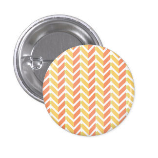 Yellow and coral chevron 3D pattern 3 Cm Round Badge