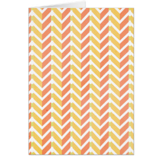 Yellow and coral chevron 3D pattern Greeting Card