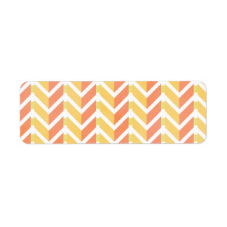 Yellow and coral chevron 3D pattern Return Address Label