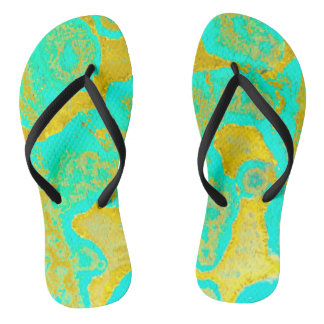 Yellow and Cyan Ameba by JP Choate Flip Flops