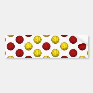 Yellow and Dark Red Basketball Pattern Bumper Sticker