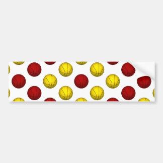 Yellow and Dark Red Basketball Pattern Bumper Sticker