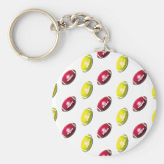 Yellow and Dark Red Football Pattern Key Chains