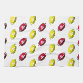 Yellow and Dark Red Football Pattern Tea Towel