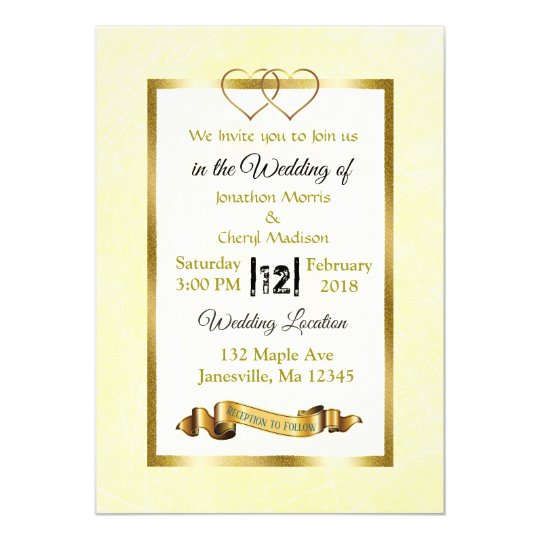 Yellow and Gold Hearts Wedding Invitations