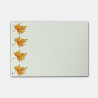 Yellow and gold maple leaves post-it® notes