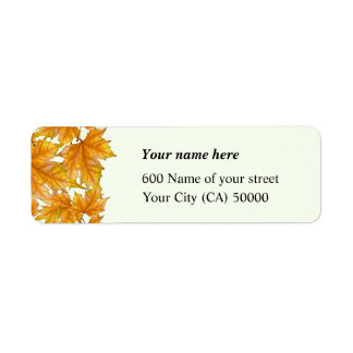 Yellow and Gold Maple Leaves Return Address Label