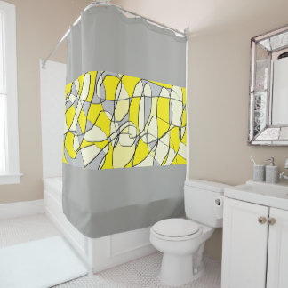Yellow and Gray Abstract Modern Shower Curtain