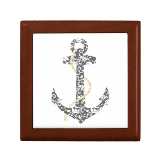Yellow and Gray Anchor Beach Wedding Gift Box