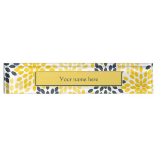Yellow and Gray Charcoal Modern Floral Desk Name Plates