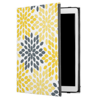 "Yellow and Gray Charcoal Modern Floral iPad Pro 12.9"" Case"