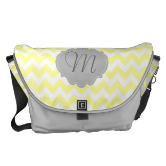 Yellow and Gray Chevron Monogram Personalized Bag Messenger Bag