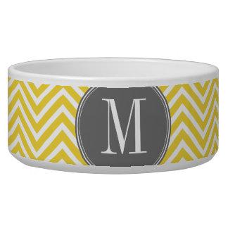 Yellow and Gray Chevron Pattern Custom Monogram Pet Bowl