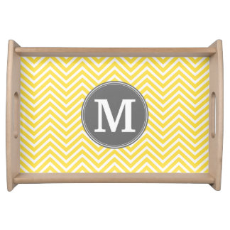 Yellow and Gray Chevron Pattern with Monogram Serving Tray