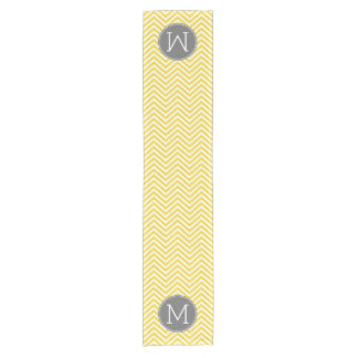Yellow and Gray Chevron Pattern with Monogram Short Table Runner