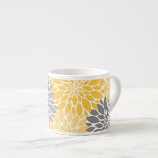 Yellow and Gray Chrysanthemums Floral Pattern