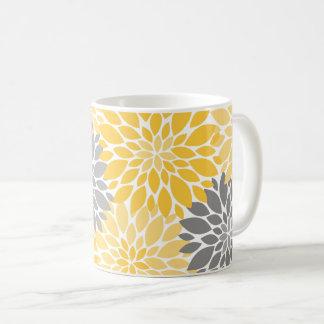 Yellow and Gray Chrysanthemums Floral Pattern Coffee Mug
