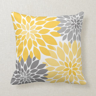 Yellow and Gray Chrysanthemums Floral Pattern Cushion