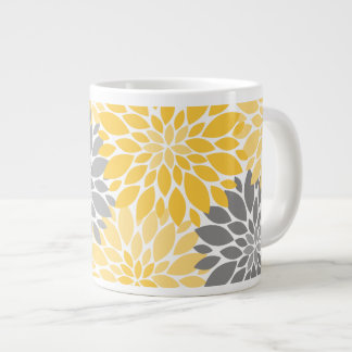 Yellow and Gray Chrysanthemums Floral Pattern Giant Coffee Mug
