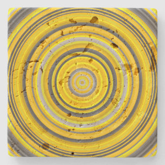 Yellow and Gray Circular Pattern Stone Coaster
