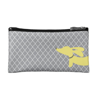 Yellow and Gray Dachshund Make Up Accessory Bag